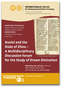 Flyer Daniel and the Duke of Zhou - A Multidisciplinary Discussion Forum for the Study of Dream Divination